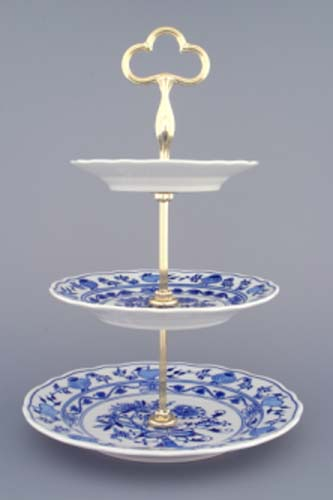 Zwiebelmuster 3pcs Tier Stand 35cm, Original Bohemia Porcelain from Dubi
