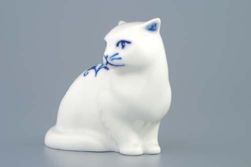 Zwiebelmuster Sitzende Katze 8cm Original Bohemia Porzellan aus Dubi