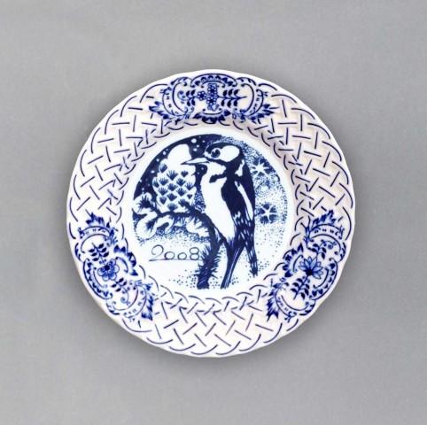 Zwiebelmuster Jahrestagteller relief 2008 18cm Original Bohemia Porzellan aus Dubi