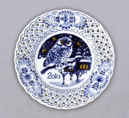 Zwiebelmuster Jahrestagteller durchbrochen 2010 18cm Original Bohemia Porzellan aus Dubi