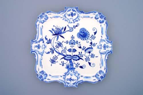 Zwiebelmuster Tablett mit Relief 35cm Original Bohemia Porzellan aus Dubi