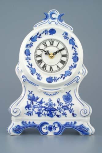 Zwiebelmuster Kaminuhr mit Uhrenwerk ohne Rosen 28cm Original Bohemia Porzellan aus Dubi
