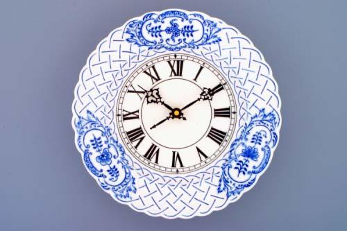 Zwiebelmuster Zifferblatt mit Uhrenwerk 24cm relief Original Bohemia Porzellan aus Dubi