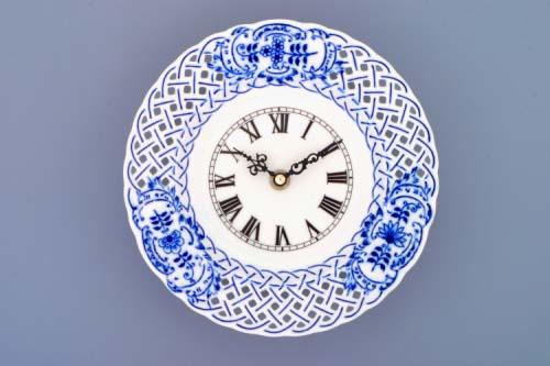 Zwiebelmuster Zifferblatt mit Uhrenwerk 18cm durchbrochen Original Bohemia Porzellan aus Dubi