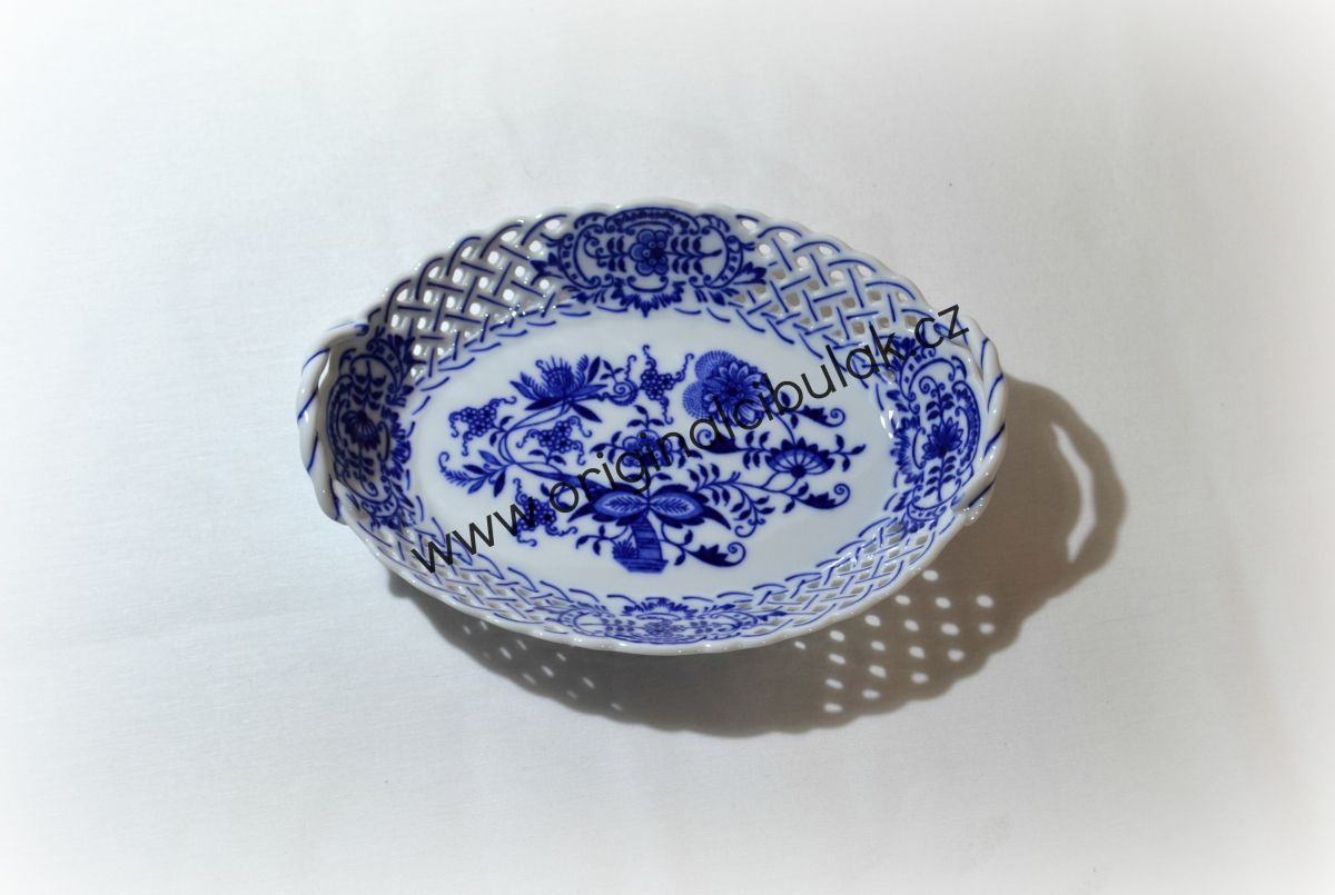Zwiebelmuster Körbchen durchbrochen 21cm Original Bohemia Porzellan aus Dubi
