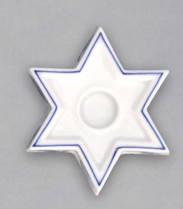 Zwiebelmuster Leuchter Stern 9cm Original Bohemia Porzellan aus Dubi