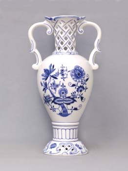 Zwiebelmuster Vase 30cm Original Bohemia Porzellan aus Dubi