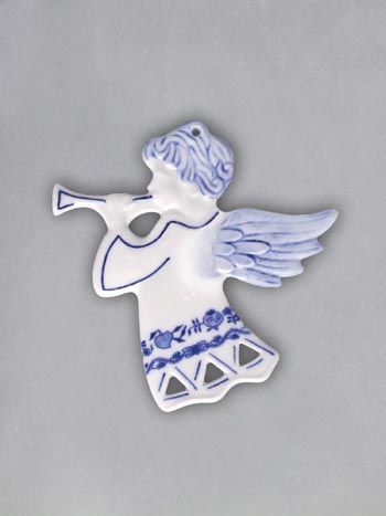 Zwiebelmuster Weihnachtsschmuck - Engel durchbrochen - beidseitig 9,5cm Original Bohemia Porzellan aus Dubi