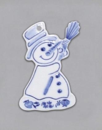 Zwiebelmuster Schneeman Weihnachtsschmuck Zwiebelmuster 8cm Original Bohemia Porzellan aus Dubi