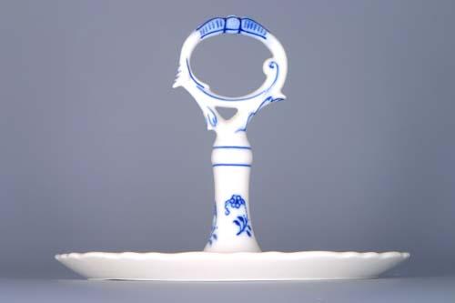 Zwiebelmuster Tablett rund mit Porzellanschlüssel 21cm Original Bohemia Porzellan aus Dubi