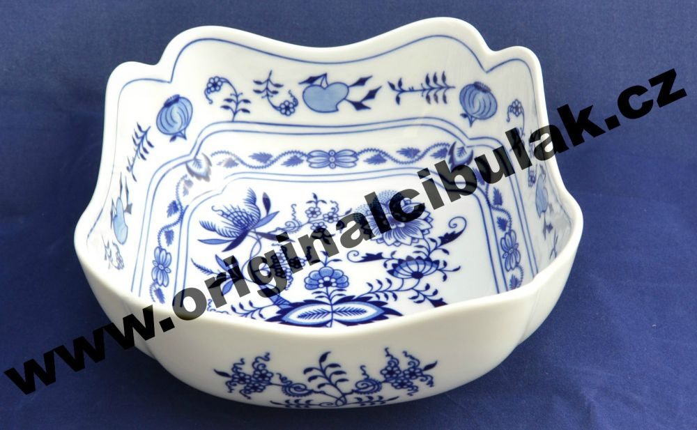 Zwiebelmuster Salatschüssel 4- eckig 18cm Original Bohemia Porzellan aus Dubi