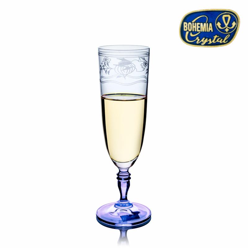 Kristall Gläser Zwiebelmuster Gravur Champagne Flute 220 ml Bohemia Crystal