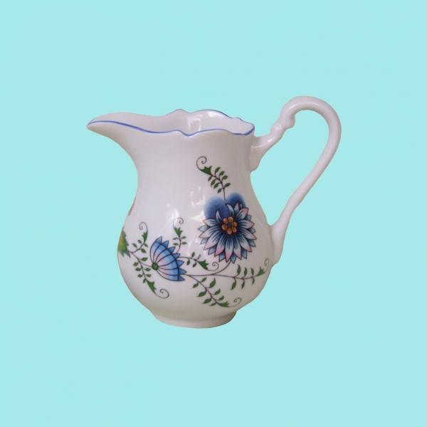 Zwiebelmuster Giesser hoch NATURE farbig 0,16L Original Bohemia Porzellan aus Dubi