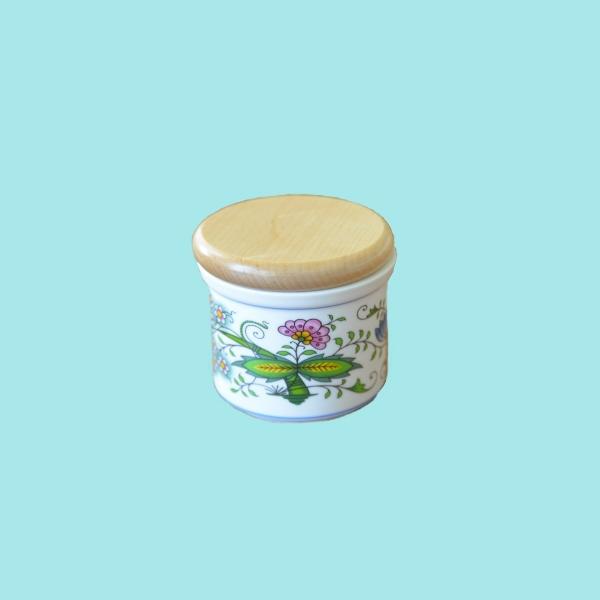 Zwiebelmuster Geschirr 8 cm Dose NATURE farbig Original Karlsbader Porzellan aus Dubi