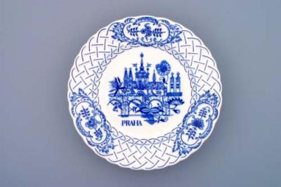 Zwiebelmuster Wall Plate Embossed Prague, Original Bohemie Porcelain from Dubi