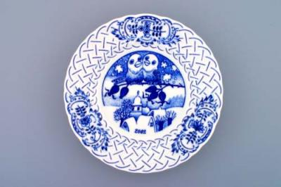 Zwiebelmuster Wall Plate Embossed 2002 18cm, Original Bohemia Porcelain from Dubi