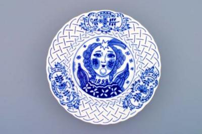 Zwiebelmuster Wall Plate Embossed 1998 18cm, Original Bohemia Porcelain from Dubi