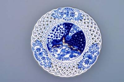 Zwiebelmuster Wall Plate Perforated 2010 18cm, Original Bohemia Porcelain from Dubi