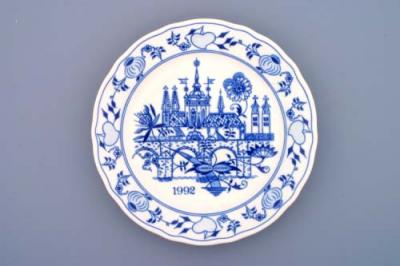 Zwiebelmuster Wall Plate 1992 24cm, Original Bohemia Porcelain from Dubi