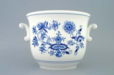 Zwiebelmuster Large Flower Pot with Handles, Original Bohemia Porcelain from Dubi