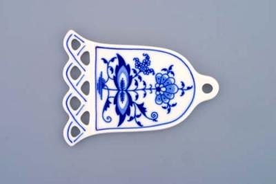 Zwiebelmuster Christmas Decoration Bell, Original Bohemia Porcelain from Dubi