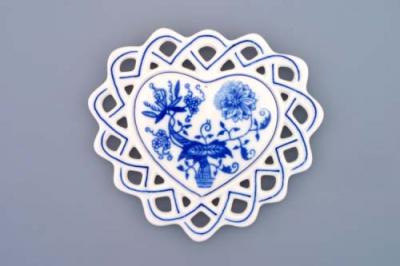 Zwiebelmuster CHristmas Decoration Heart, Original Bohemia Porcelain from Dubi
