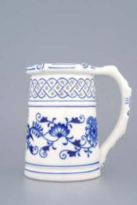 Zwiebelmuster Beer Jug Perforated 0.40L, Original Bohemia Porcelain from Dubi