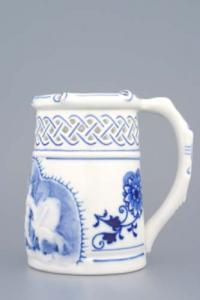Zwiebelmuster Beer Jug Embossed 0.40L, Original Bohemia Porcelain from Dubi