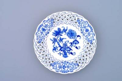 Zwiebelmuster Plate Perforated 15cm, Original Bohemia Porcelain from Dubi