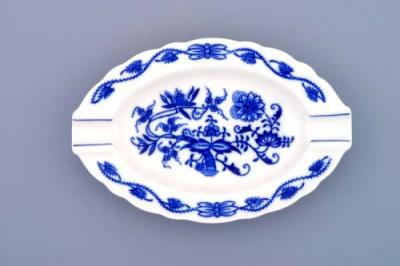 Zwiebelmuster Oval Ashtay 16cm, Original Bohemia Porcelain from Dubi