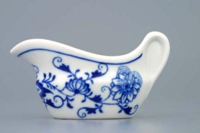 Zwiebelmuster Sauceboat Oval 0.05L, Original Bohemia Porcelain from Dubi
