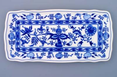 Zwiebelmuster Square Tray 33cm, Original Bohemia Porcelain from Dubi