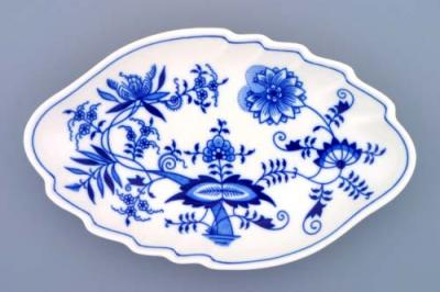 Zwiebelmuster Double Leaf Dish 24cm, Original Bohemia Porcelain from Dubi
