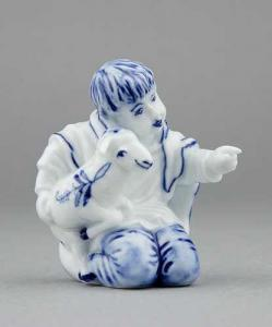Zwiebelmuster Boy with Sheep, Original Bohemia Porcelain from Dubi