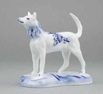 Zwiebelmuster Dog, Original Bohemia Porcelain from Dubi