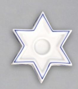 Zwiebelmuster Candle Holder Star, Original Bohemia Porcelain from Dubi