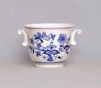 Zwiebelmuster Small Flower Pot with Handles, Original Bohemia Porcelain from Dubi