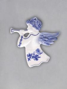 Zwiebelmuster Christmas Ornament Angel, Original Bohemia Porcelain Dubi