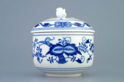 Zwiebelmuster Sugar Container no Handles 0.30L, Original Bohemia Porcelain from Dubi