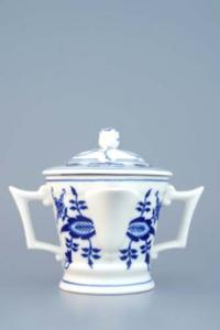 Zwiebelmuster Round Sauceboat with Cover, Original Bohemia Porcelain from Dubi