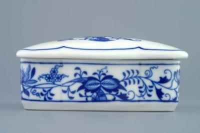 Zwiebelmuster Cigarette Box, Original Bohemia Porcelain from Dubi