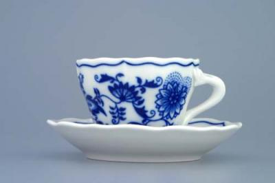 Zwiebelmuster Cup A wiith Saucer A 0.08L + 11cm, Original Bohemia Porcelain from Dubi