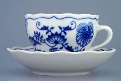 Zwiebelmuster Cup + Saucer 0.20L + 14cm, Original Bohemia Porcelain from Dubi