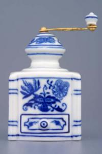 Zwiebelmuster Mini Coffee Mill 8cm, Original Bohemia Porcelain from Dubi
