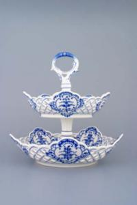 Zwiebelmuster 2pcs Tier Stand, 5 edges Set, Original Bohemia Porcelain from Dubi