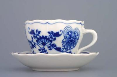 Zwiebelmuster Cup A/2 with Saucer A/1 0.17L + 13cm, Original Bohemia Porcelain from Dubi