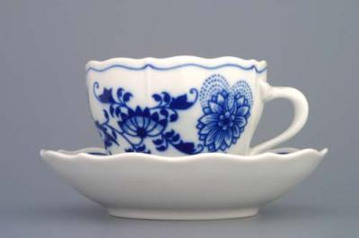 Zwiebelmuster Cup A/2 with Saucer B 0.17L + 14cm, Original Bohemia Porcelain from Dubi