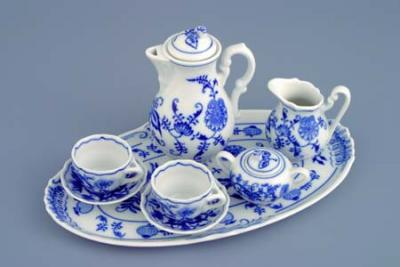 Zwiebelmuster Mini Coffee Set, Original Bohemia Porcelain from Dubi