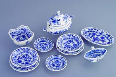 Zwiebelmuster Mini Dining Set 10pcs, Original Bohemia Porcelain from Dubi