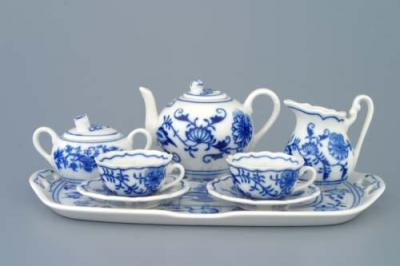 Zwiebelmuster Mini Tea Set 8pcs, Original Bohemia Porcelain from Dubi